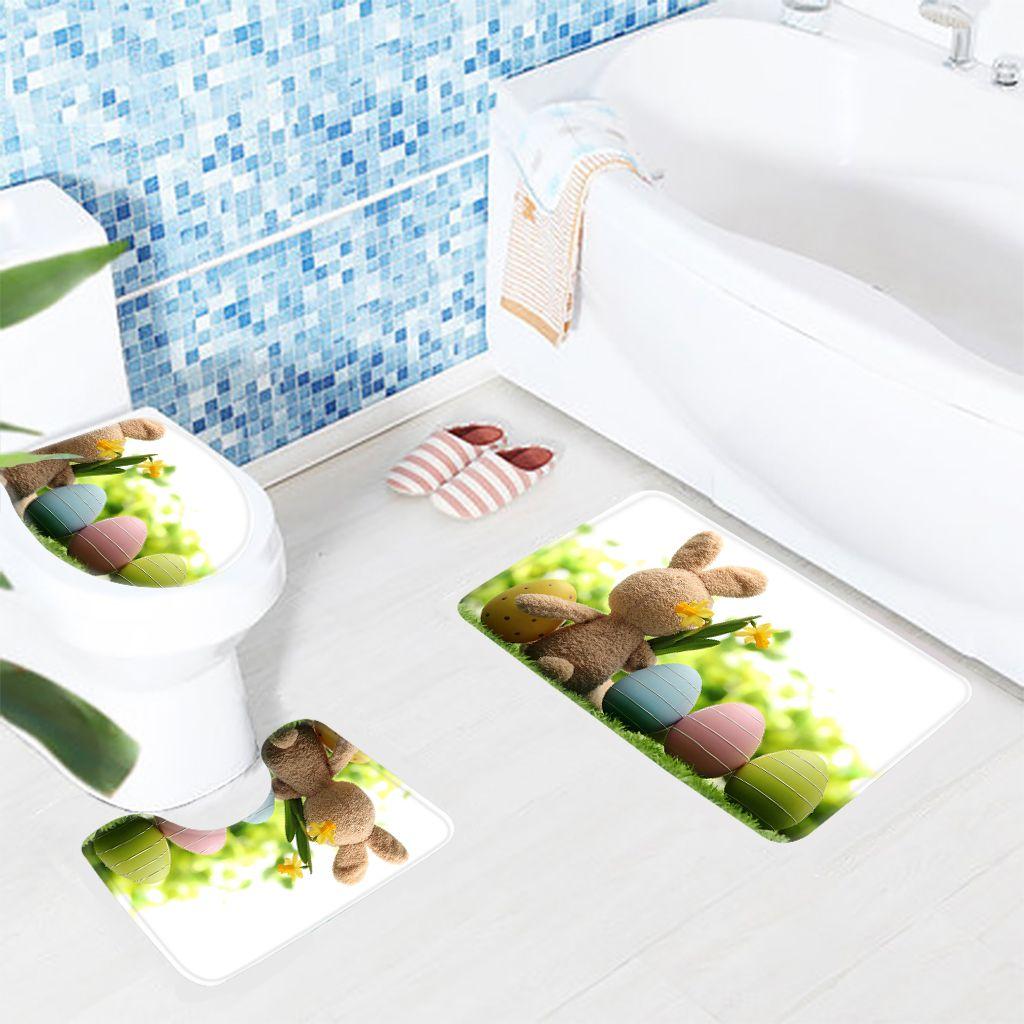 3pcs Cute Animal Bathroom Mat Set Easter Bunny Pattern Bath Mat Anti Slip Toilet Mat Microfiber Floor Rugs Bathroom Mat Sets Patterned Bath Mats Bathroom Mats