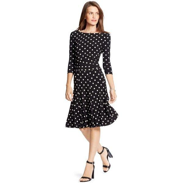 Lauren Ralph Lauren Tia Driver Polka-Dot Jersey Dress ($149) ? liked on  Polyvore featuring dresses, black, slimming dresses, polka dot dress, pleated  dress ...