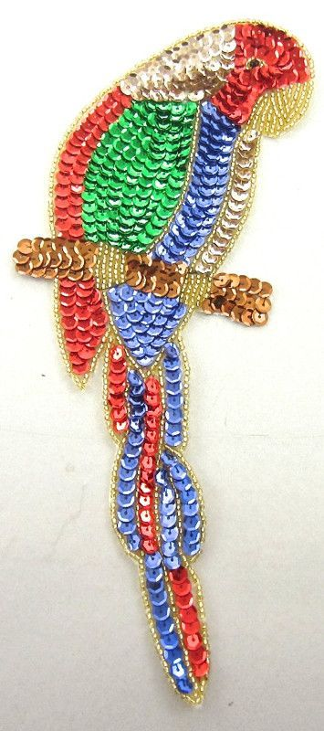"""Parrot on Branch Blue Red Green Sequins 10"""" x 4"""""""