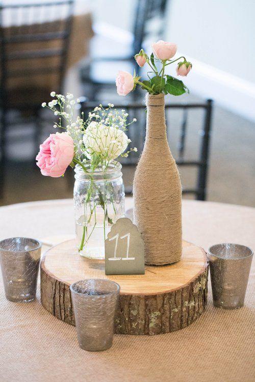 wood slice centerpieces | campestre boda | wedding centerpieces