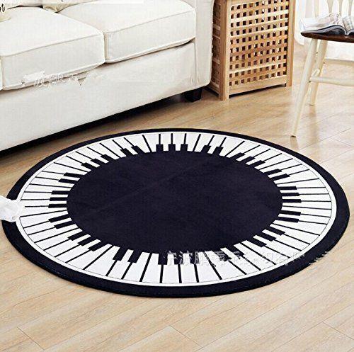 Weiche Rund Piano Key Schwarz Weiss Teppich Wohnzimmer Teppich Teppich Wohnzimmer Wohnzimmer Teppich Teppich