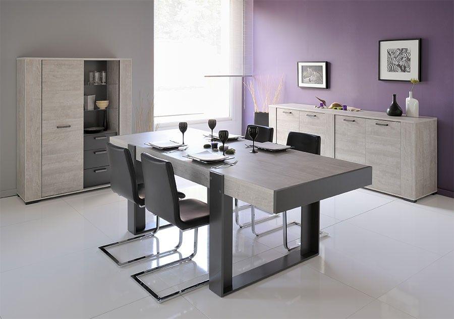 Salle à manger complète contemporaine couleur gris clair et ...