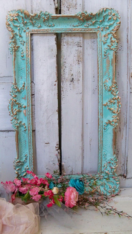 Toque de decoración de pared Aqua foto marco de turquesa adornado ...