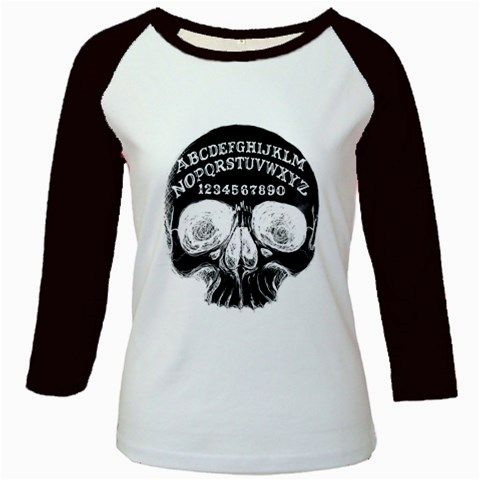 Ouija+Skull+Girly+Raglan,++ultra-soft+6.0+oz+100%+preshrunk+ring-spun+baby+rib+cotton.+Contrasting+neck+and+3/4+length+sleeves+with+a+form-fitting,+contoured+fit+clings+to+women's+curves.+ www.shayneofthedead.com