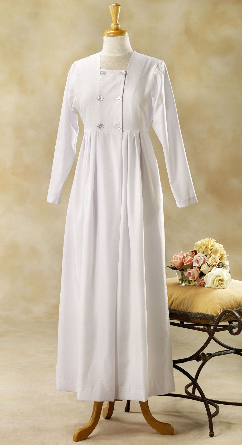 Lds temple dresses white elegance pioneer