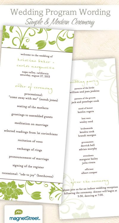 Wedding Program Wording  Templates  Wedding Programs Wording