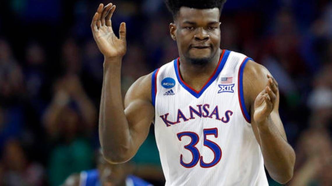 Kansas center Udoka Azubuike (35) celebrates after making