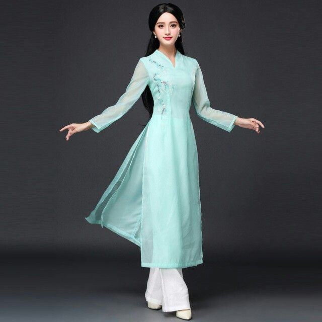 New Arrival 2017 Vietnam ao dai Chinese traditional dress qipao long Chinese  cheongsam dress robe chinoise modern cheongsam US  69.99 61b95966bf8f