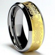 This beautiful 18K Gold Plated tungsten carbide ring is 8MM in width and comfort fit. It is all high polish with laser etched celtic design. If you are looking for a ring that is scratch proof and for...