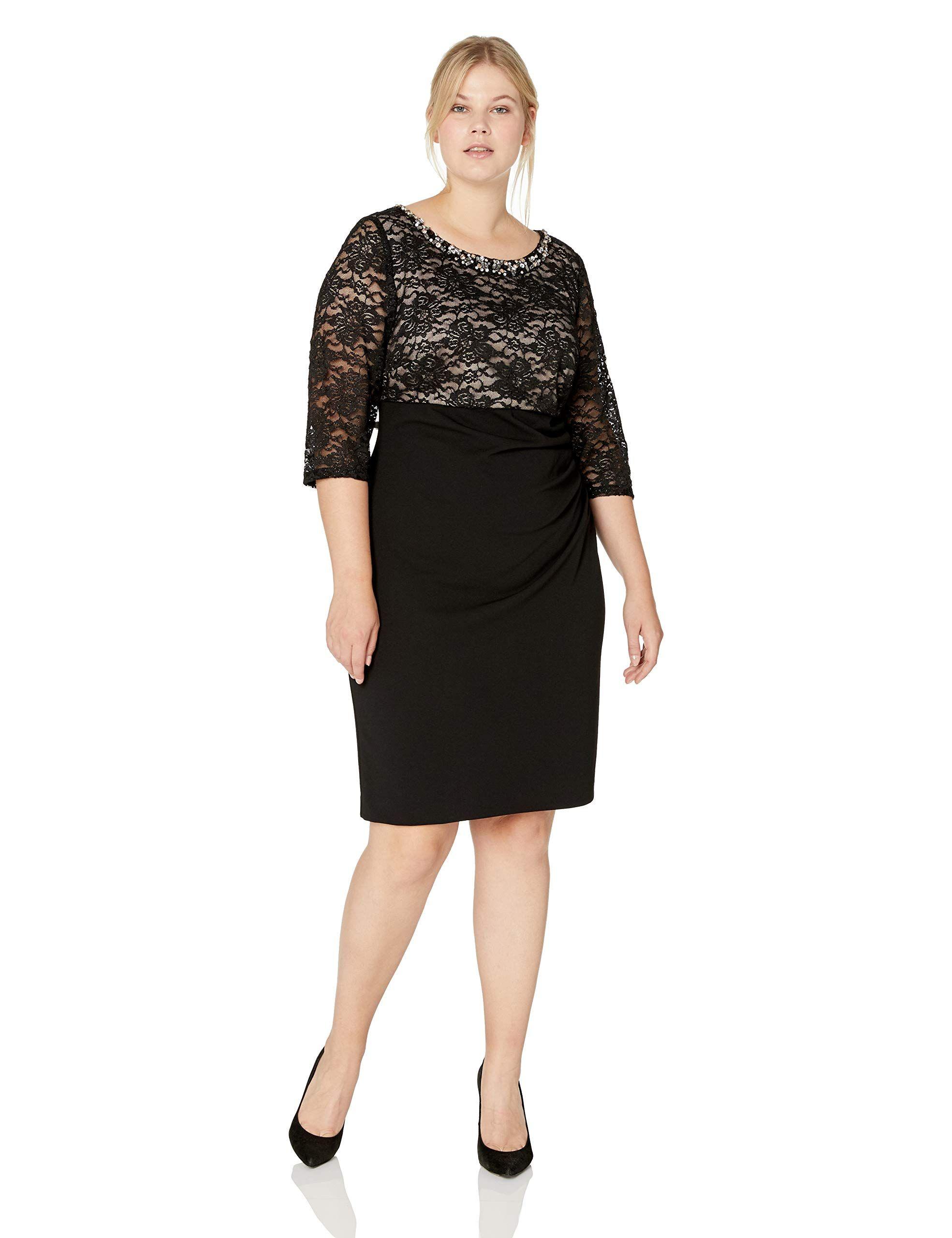 3db46f98f595 Jessica Howard Plus Size Womens Beaded Neck Empire Waist Side Tucked Sheath  Dress,