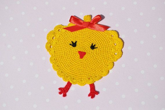 Crochet chicken coasters Crochet coasters by KristinaSHaSHop