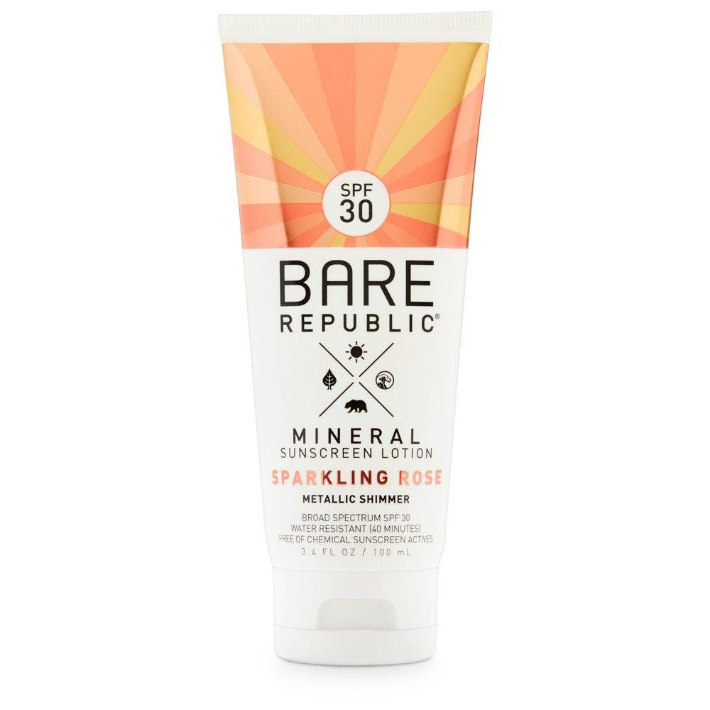 Bare Republic Mineral Sparkling Rose Sunscreen Lotion Spf 30