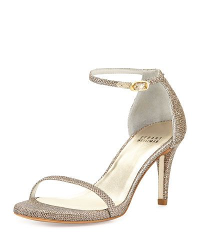 Superb Amazingly Comfortable Naked Glitter Mid Heel Sandal, Platinum By Stuart  Weitzman At Neiman Marcus.