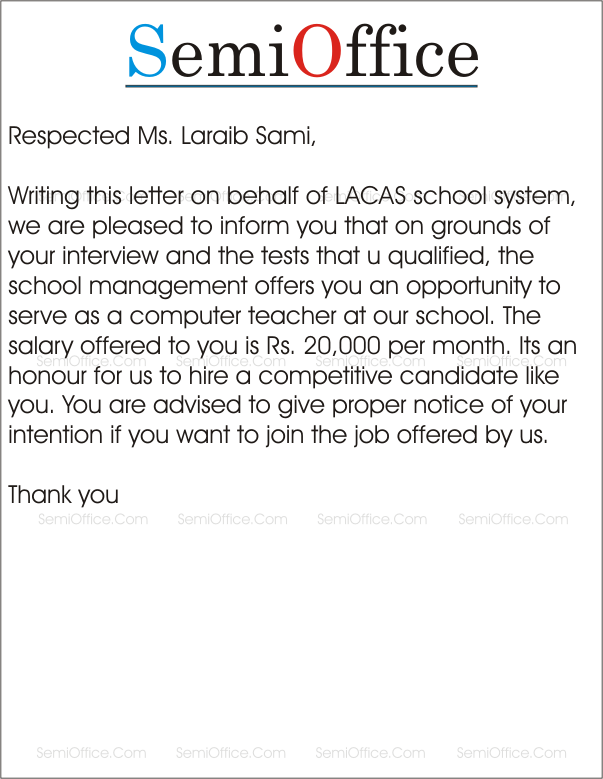 Appointment Letter Format For School Teacher Free Letters Word Pdf