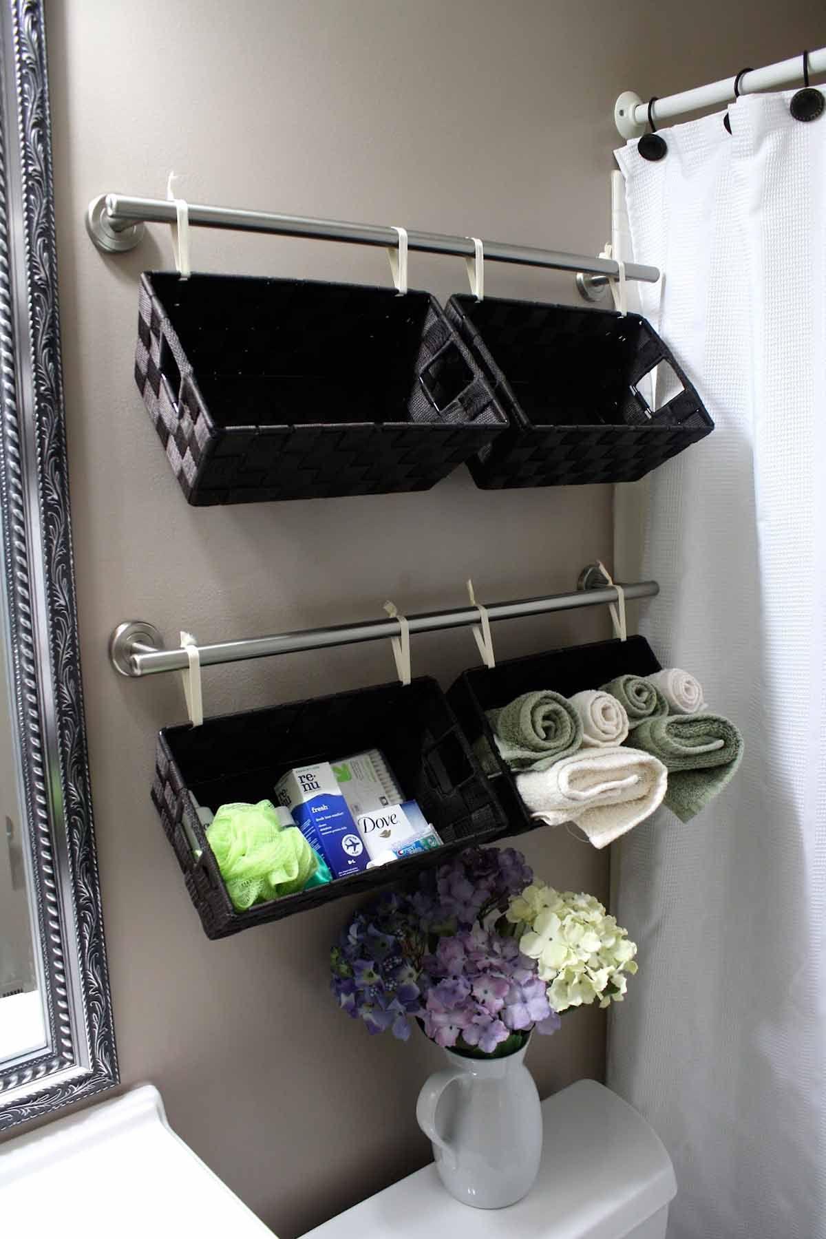 A Wall Full Of Baskets 30 Brilliant Bathroom Organization And Storage Diy Solutions