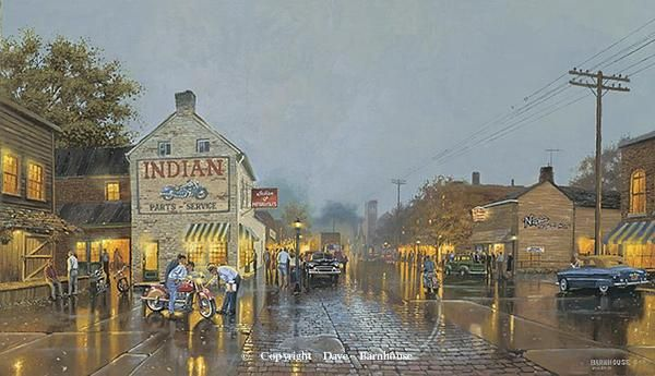 """""""Indian Summer"""" s/n limited edition 1950 16""""x27.5"""" image size -Motorcycle Paintings by Dave Barnhouse"""