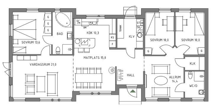 Trivselhus Arkitekt127 127m 145m Hus Inredning Vardagsrum