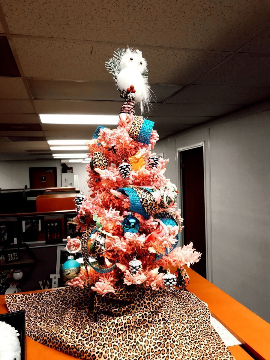 Magical Zebra Christmas Cubiclechristmasdecorations Small Tree Office Tree Cubicle Christmas In 2020 Christmas Cubicle Decorations Christmas Decorations Pink Trees