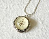Antique Compass Locket Necklace - Pick your design Great gift for grads