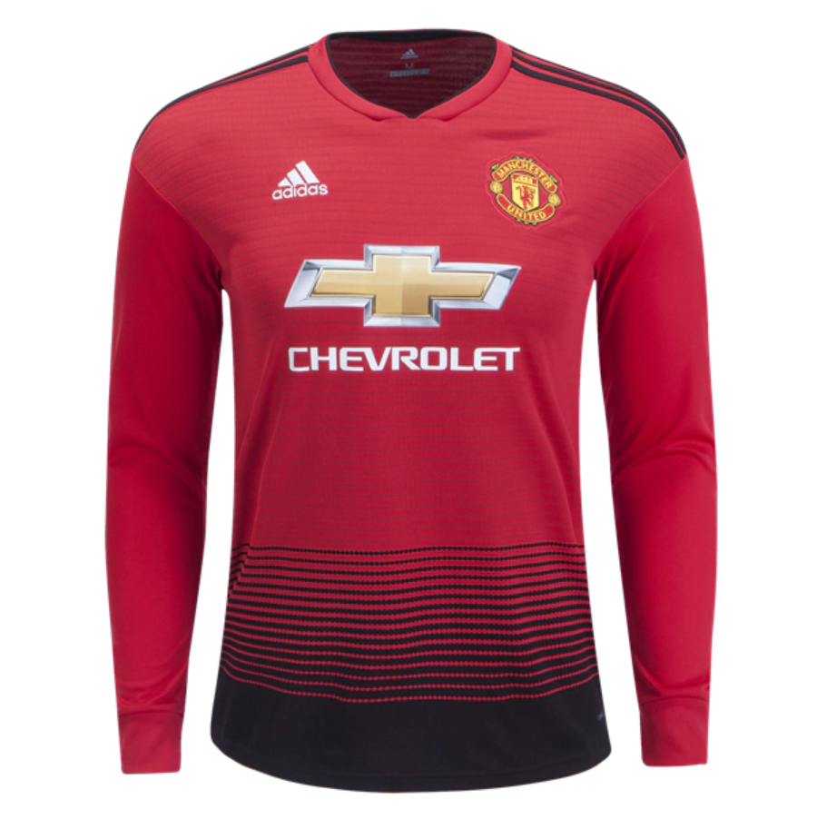 114e1f2c7bb Manchester United 18 19 Home Men Long Sleeve Soccer Jersey Personalized  Name and Number