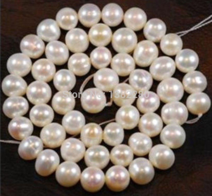 """Real Natural White Freshwater Cultured Pearl Beads String Strand DIY Jewelry 15/"""""""