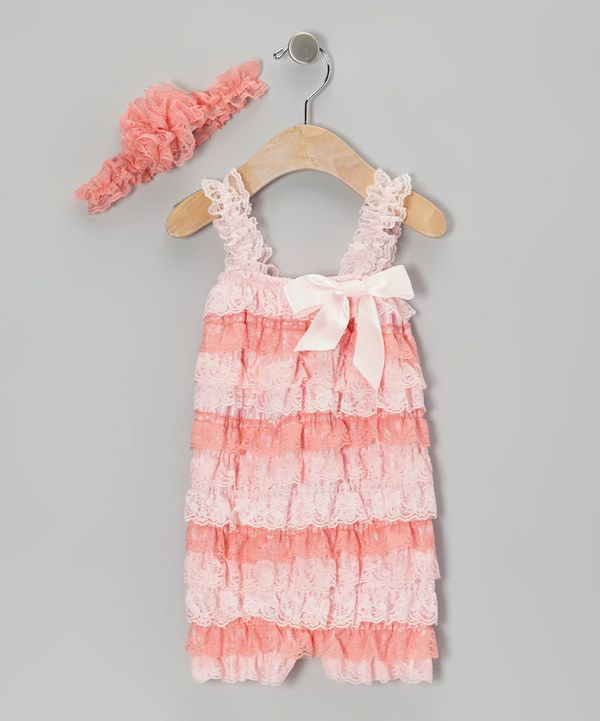 Look at this Dark Pink Lace Ruffle Romper & Flower Headband - Toddler on #zulily today!
