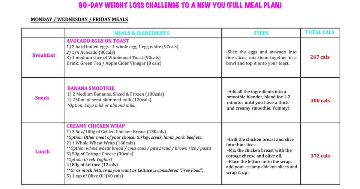 day weight loss challenge full meal plan pdf also health rh pinterest