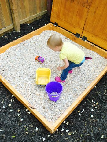 """Okay - totally rethinking the sand box!  We have the perfect spot for a """"rock box"""" under the play fort.  I always hated how the sand tracks in the house, anyway."""