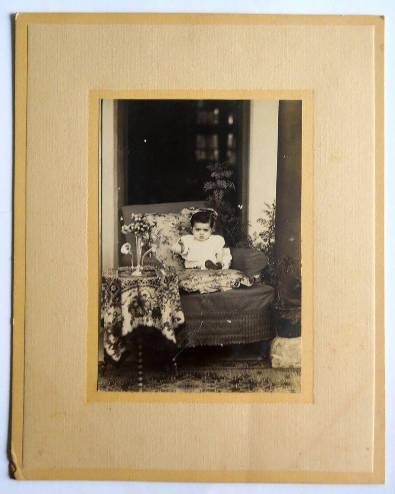 India 1960s Vintage Photo Little Child mounted on cardbord #p20