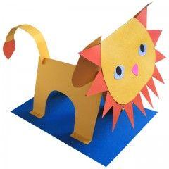 León de papel 3D