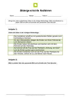 Arbeitsblatt: Bildergeschichte Radfahren | Bildergeschichten ...