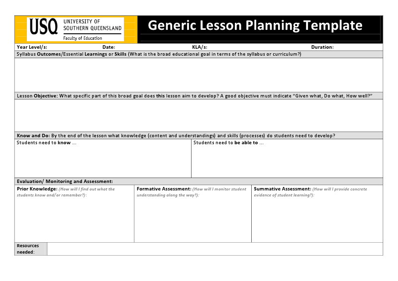 Usq generic lesson planning teaching for Lesson plan template qld