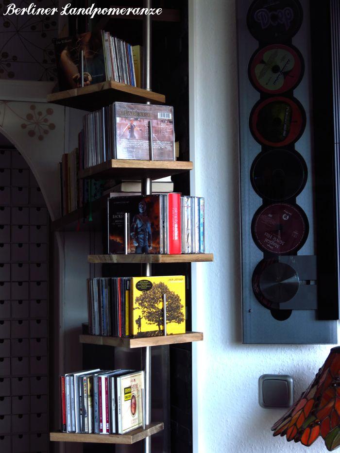 diy cd regal aus teleskop duschstange diy cd shelf from. Black Bedroom Furniture Sets. Home Design Ideas