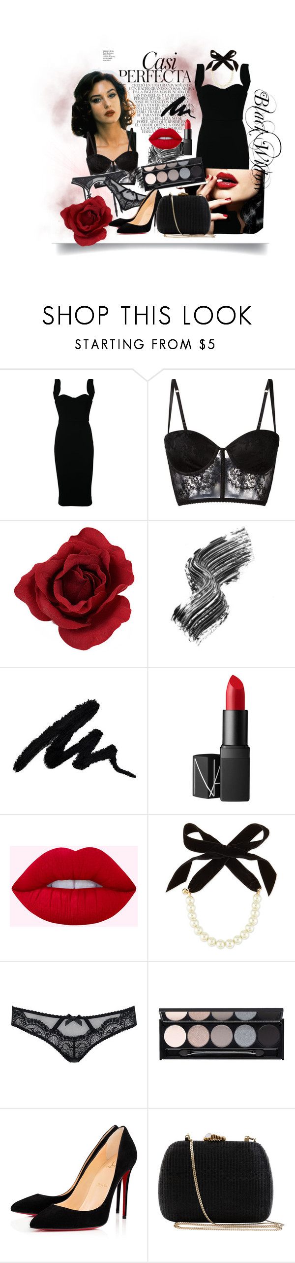 """""""Black Widow"""" by chris-stenly ❤ liked on Polyvore featuring Whiteley, Victoria Beckham, I.D. SARRIERI, Illamasqua, NARS Cosmetics, Lulu Frost, L'Agent By Agent Provocateur, Witchery, Christian Louboutin and Serpui"""
