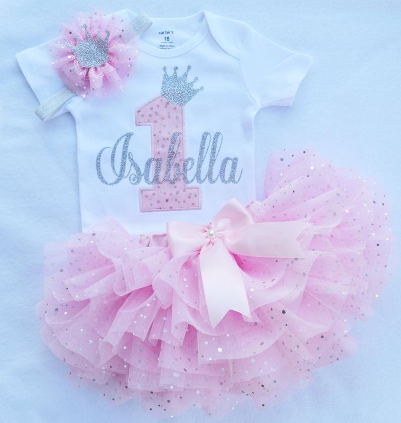 SEWN Light Pink Tutu Baby Girl 1st birthday 1st birthday girl outfit it/'s my first birthday outfit Pink and gold birthday outfit girl