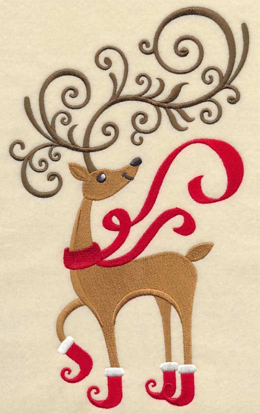 Frolicking Fancy Reindeer Machine Embroidery Designs At