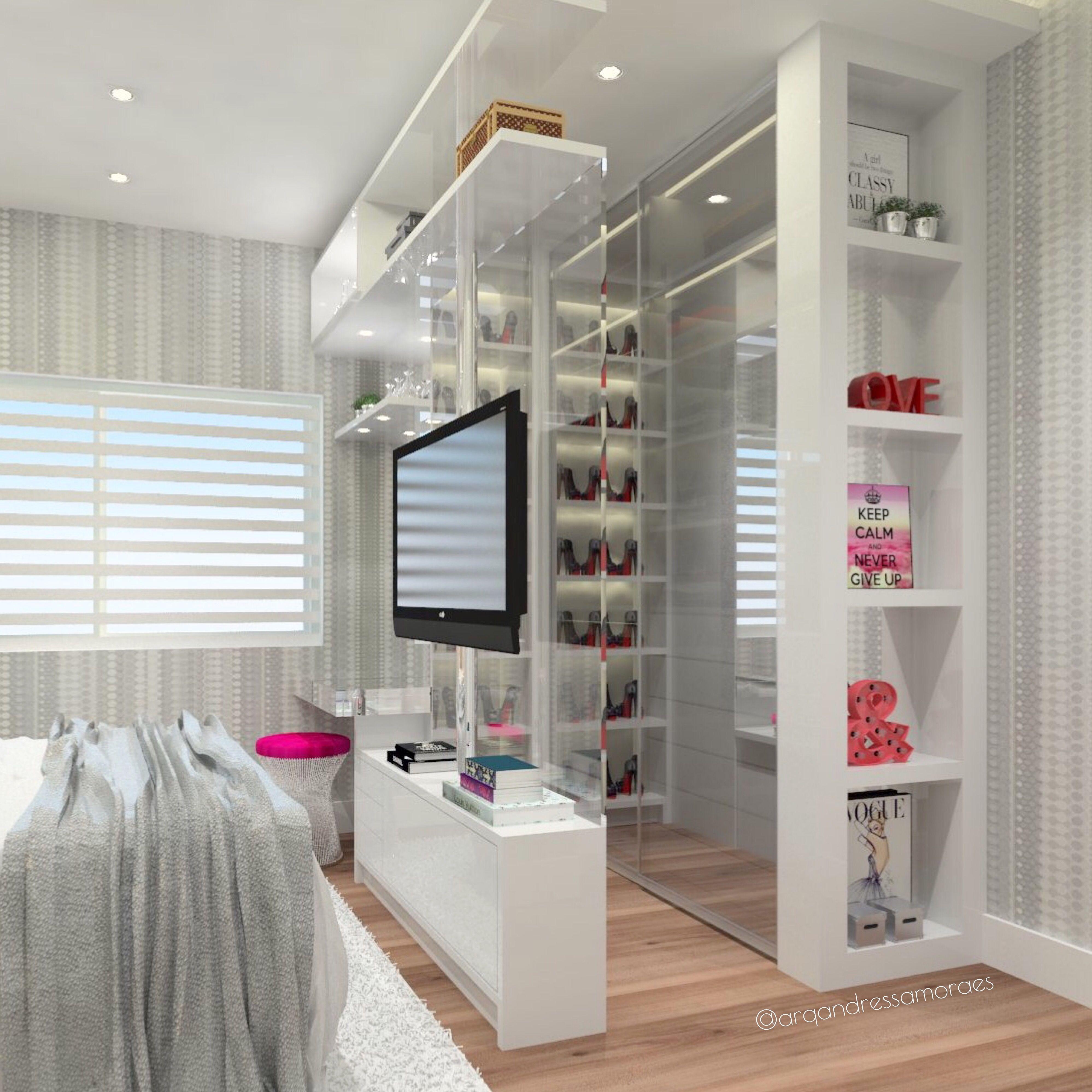 Pin De Andressa Moraes En Projetos Pinterest Dormitorio Luces  ~ Vestidores En Habitaciones Pequeñas