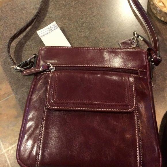 56b8bb22fd Crossbody bag Gianni Bernini wine colored NWT glazed leather crossbody bag.  Adjustable and has pockets. 9x9.5. Giani Bernini Bags Crossbody Bags