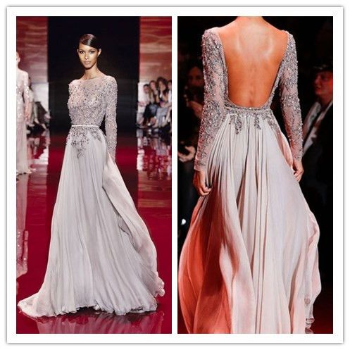 elegant long sleeve high neck prom dresses 2014 zuhair
