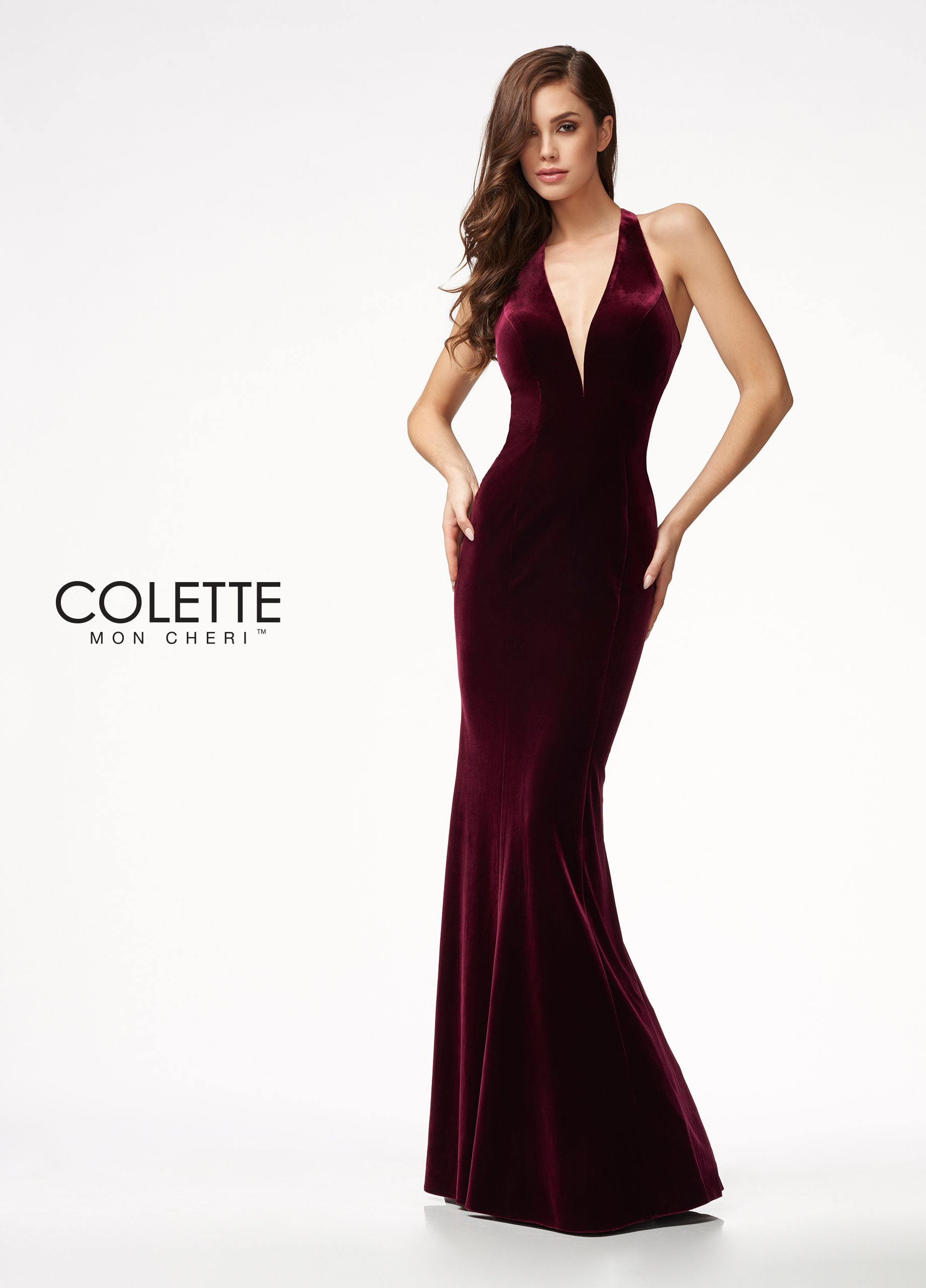c06a8990f23d8e ... wedding gowns and prom dresses. Colette for Mon Cheri CL21705 - Velvet  Deep V-neckline Column silhouette with fluted skirt Fitted bodice Open back