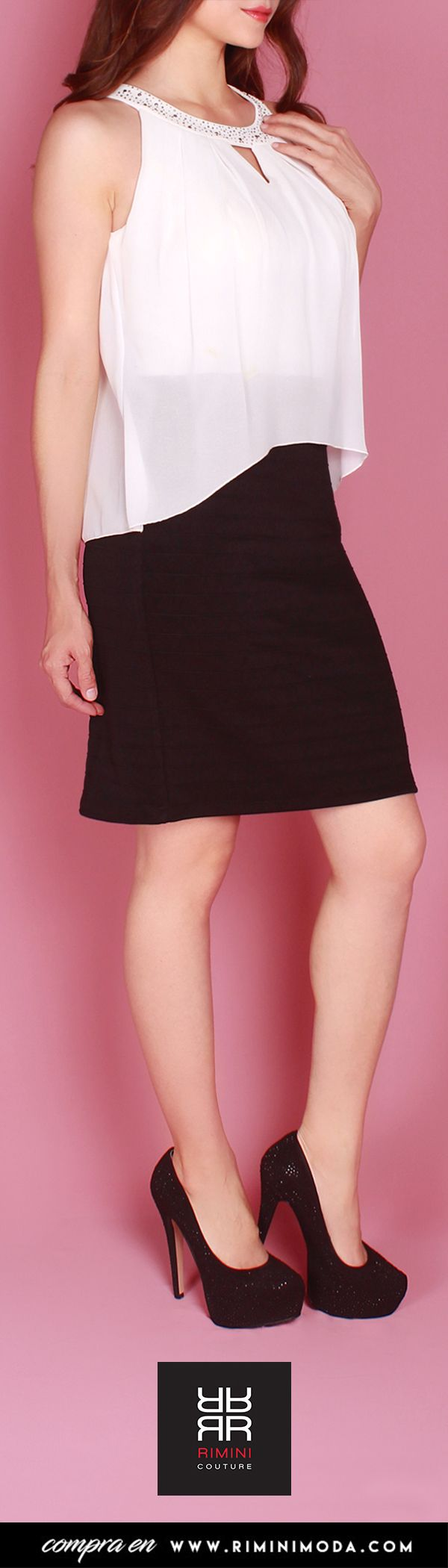 Vestido de Fiesta Corto Blanco y Negro. RIMINI Couture   Pinterest ...
