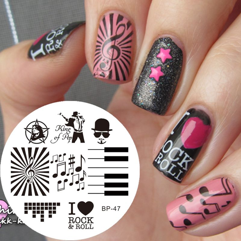 Music Theme Nail Art Stamping Template Plate Stamp Nail Plates Image ...