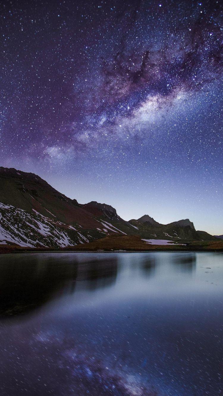 750x1334 Night Milky Way Lake Mountains Wallpaper Mountain Wallpaper Milky Way Landscape