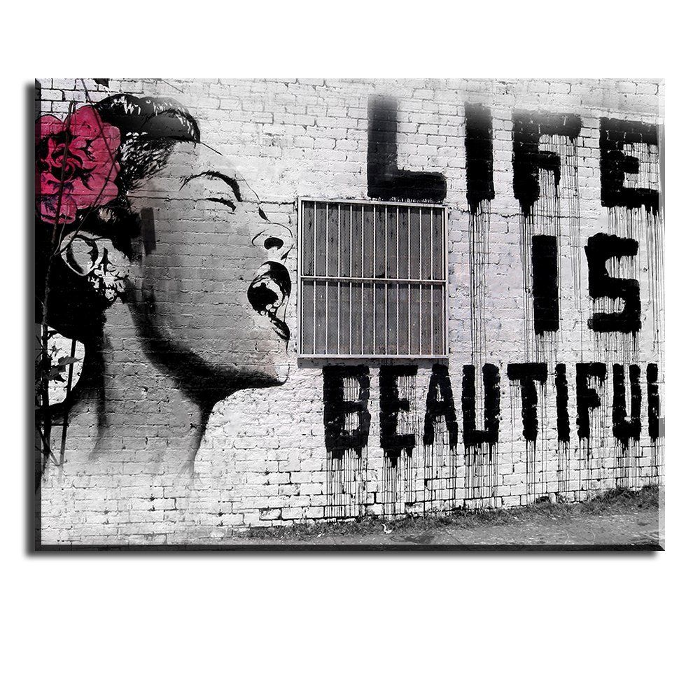 Amazon Com Piy Painting Love Banksy B700 1 Panel Framed Canvas Prints Artwork Stretched With Frame A Wall Canvas Modern Wall Art Canvas Framed Canvas Prints
