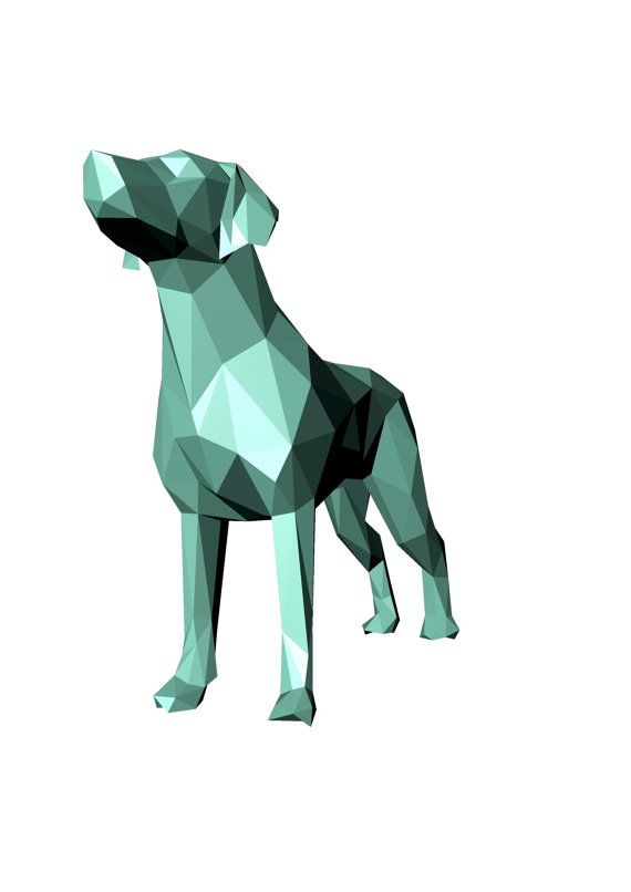 Printable Diy Template Pdf Dog Pointer Low Poly Paper Model