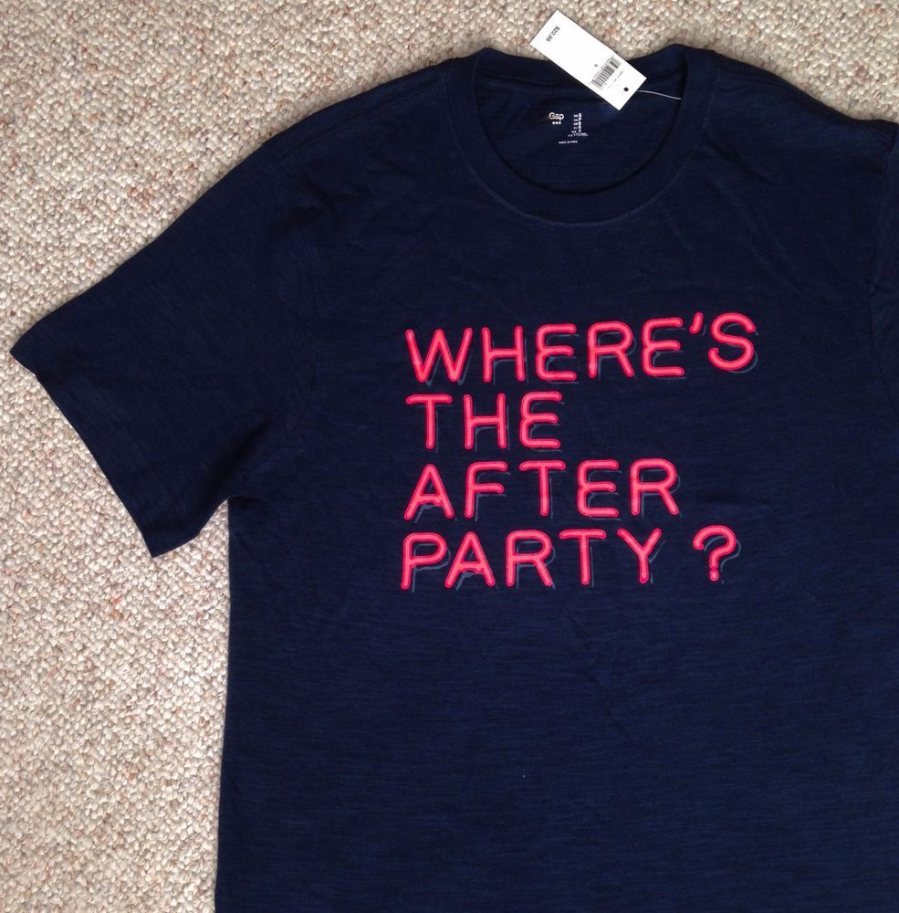 Black t shirt with neon letters - New 23 Men Sm Where S The After Party T Shirt Navy Pink