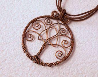 Celtic tree of life pendant, flower tree of life pendant, copper ...
