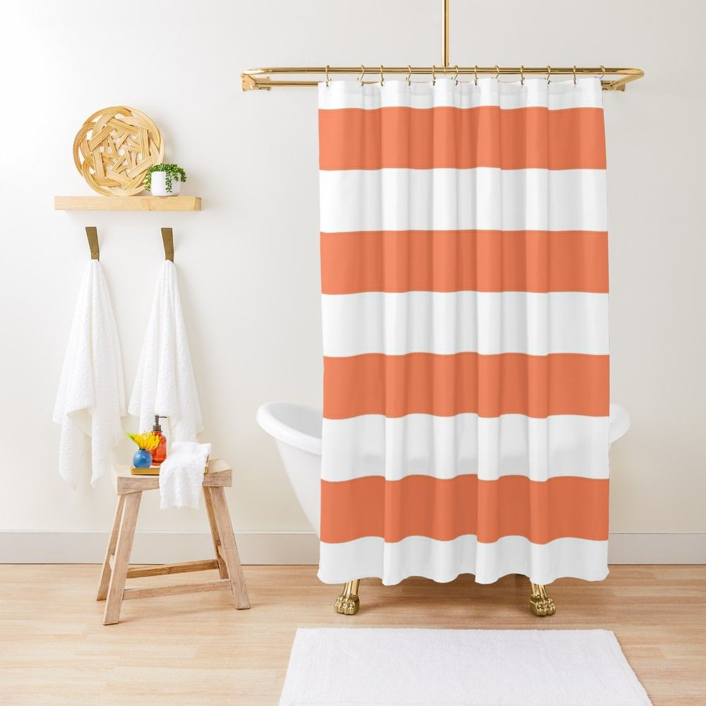 Large Basket Ball Orange And White Horizontal Cabana Tent Stripes