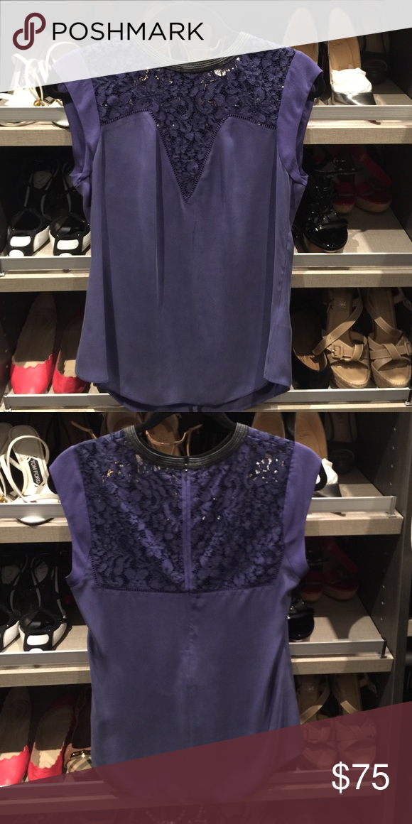 Rebecca Taylor Lace Top Pretty purple and black silk lace top. Leather collar accent. Only worn once or twice! Rebecca Taylor Tops Blouses