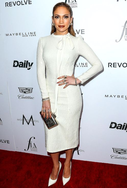 Jennifer Lopez In A Long Sleeve Cream Ermanno Scervino Midi Dress
